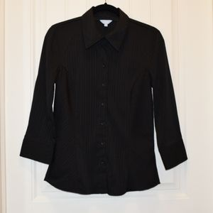Ladies 3/4 Sleeve Button-Up Shirt Black Small